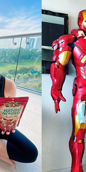 Which celebs have life-sized Iron Man statue at home, home gym, post-card views from the living room?