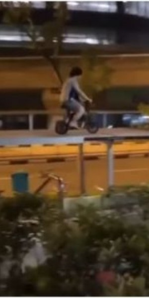 Teen in video riding PMD on top of walkway shelter arrested for rash act