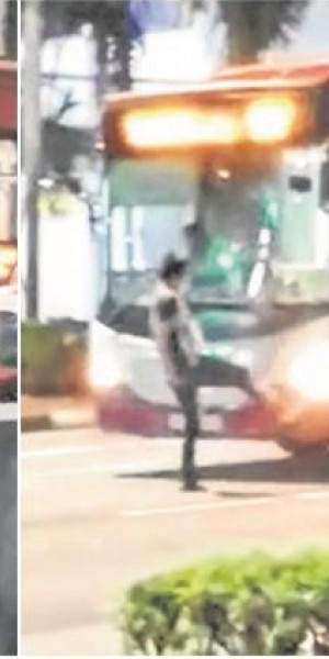 Man vs machine: Commuter kicks and punches bus for leaving him behind