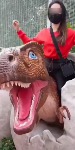 Rocking with dinosaurs: Netizens blast woman riding exhibit at Changi Jurassic Mile
