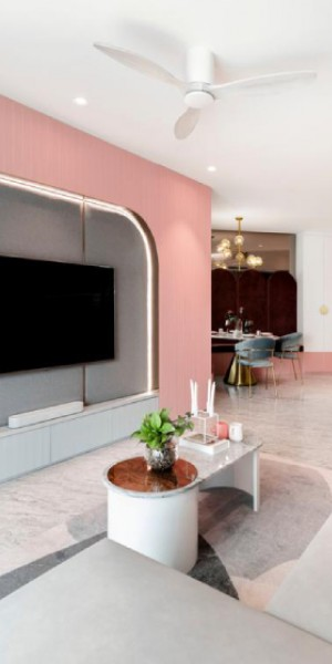 This pink Punggol home takes design cues from postmodernism