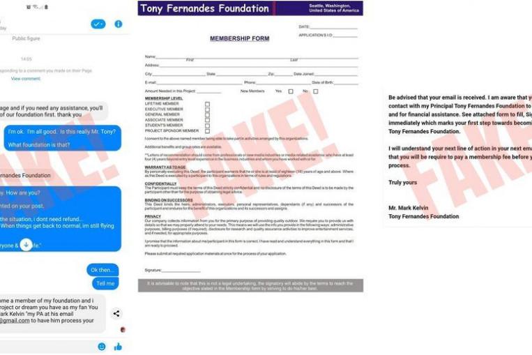Airasia Warns Of Fake Tony Fernandes Foundation Online Scam Digital Malaysia News Asiaone