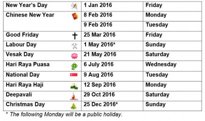 ... dates for the 11 gazetted public holidays next year are as follows