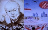 Talented sand artist creates touching SG50 tribute to Mr Lee Kuan Yew