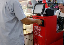 Self-pay kiosks in new Hougang hawker centre