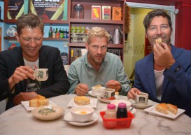 Michael Learns To Rock try kopi, kaya toast in Singapore