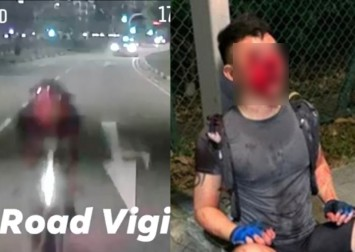 Cyclist bloodied after crashing into back of minibus along Old Airport Road