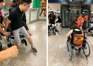 Kind stranger carries 80kg handicapped woman up stairs after lift at Novena MRT Station breaks down