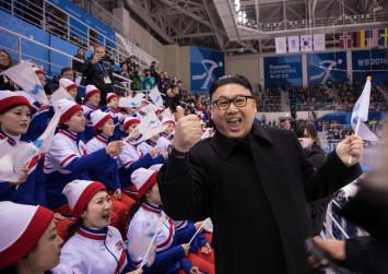 North Korean cheerleaders giggle at fake Kim Jong Un