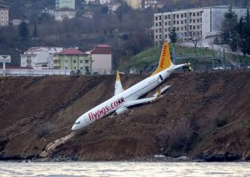 Turkish passenger plane skids down cliff during landing, stopping metres away from sea