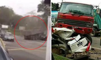 Singaporean family killed in Port Dickson: Video shows lorry speeding through intersection before crashing into car