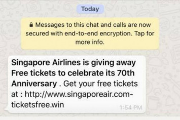 Singapore Airlines warns of phishing scam promising free plane tickets