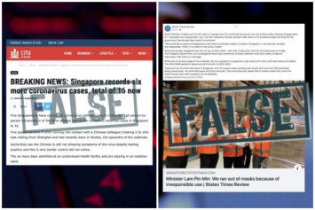Wuhan virus: Govt debunks fake news on Singaporeans contracting the virus and Singapore running out of masks