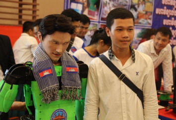 Team of young engineers construct first humanoid made in Cambodia
