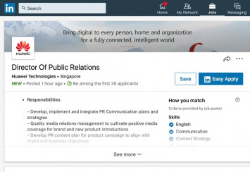 Huawei just put up a LinkedIn post looking for a director of public relations
