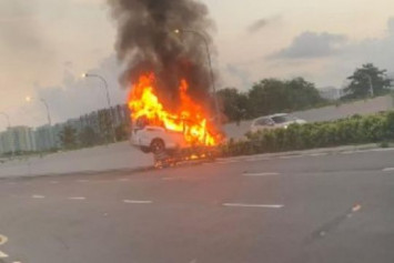 Man arrested for suspected drink driving after car bursts into flames at Pasir Ris Drive 1