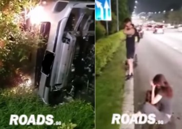 2 injured after cars speeding on CTE allegedly cause van to veer off road