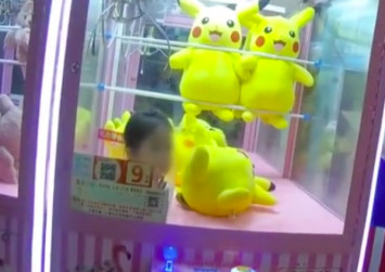 3-year-old girl in China stuck in claw machine after climbing in for Pikachu doll
