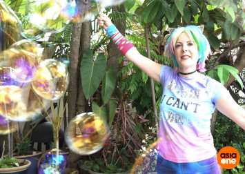She's 51, still plays with bubbles and gets paid for it