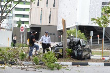 Woman trapped, bleeding under wheel, among 6 injured after car hit tree in Punggol; driver arrested
