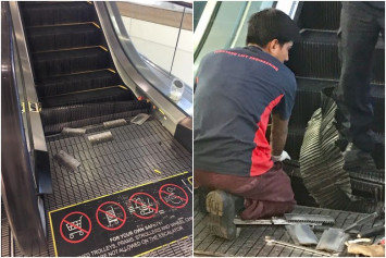 Shoppers shocked as lower steps of moving escalator collapse at Tampines 1 mall