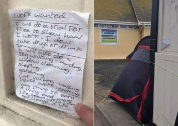 Homeless man writes note asking for work; gets job offer, thanks to 16-year-old