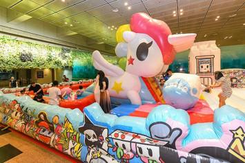 World's largest Tokidoki Unicorno slide now at Changi Airport Terminal 3