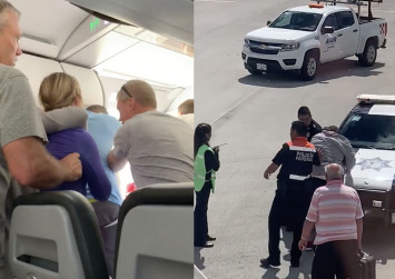 Chaos on plane after passenger forces open emergency exit door as it prepares for takeoff