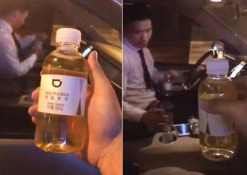 Passenger drinks water offered by Didi premium car service, realises it's pee