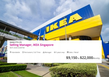 Earn up to $22k per month as a manager at Ikea Singapore, according to job listing