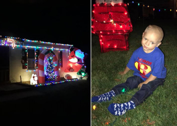 Toddler dying of brain cancer celebrates Christmas early with family and neighbours