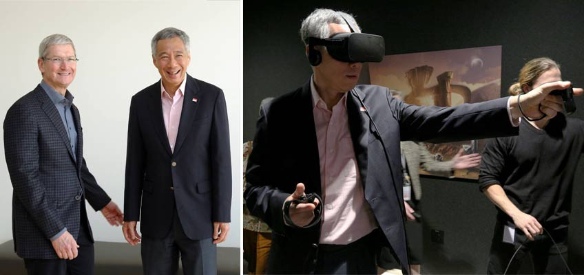 PM Lee meets Apple's CEO and tries out Facebook's Virtual Reality gadgets