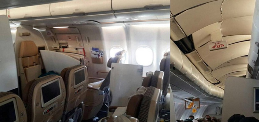 Intense turbulence on flight causes cabins to crack & overhead bins to fall out