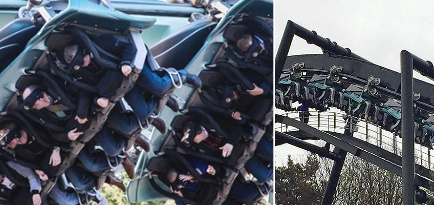 Screams and cries as roller-coaster riders are stranded upside down in mid air