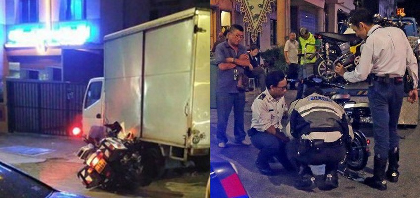 Traffic police officer crashes in chase, gets up and chases suspect on foot