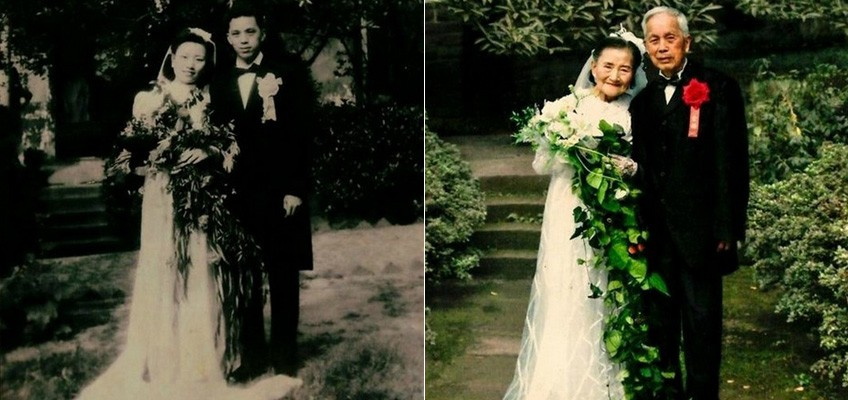 Love through war and peace: Chinese couple celebrate 70 years of marriage by recreating wedding photos