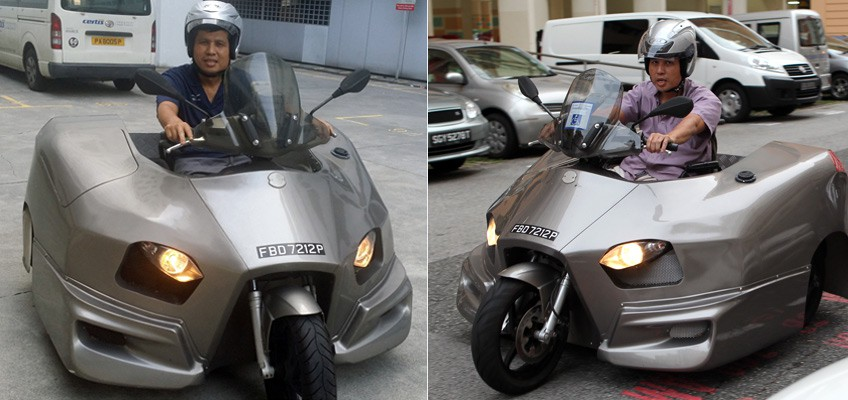 Wheelchair user designs own 'scooter-car', entirely driven by hand