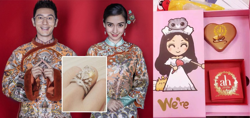 Angelababy reveals massive engagement ring, wedding favours for big day