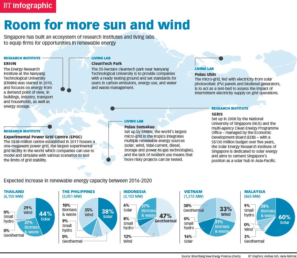 I want to know more about renewable energy in Singapore.?