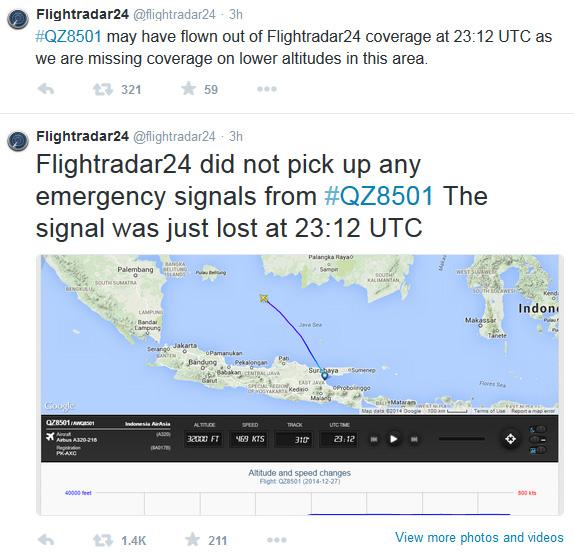 Flight QZ8501: Last detected position about 100 nautical
